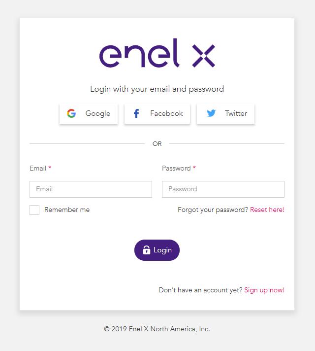 New look JuiceNet login with Enel X branding.