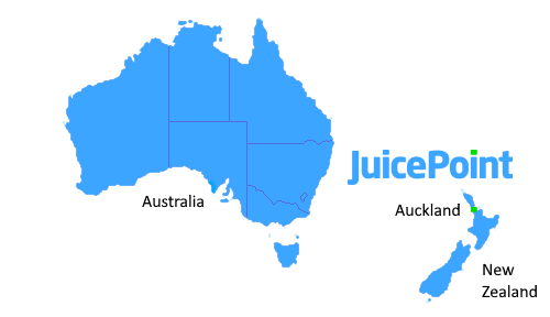 Map of JuicePoint Locations in New Zealand and Australia